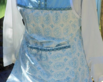 French blue and white cameo print bakers apron