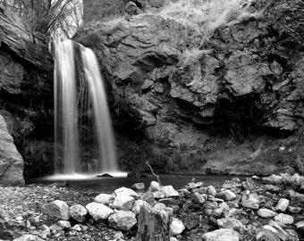 Adams Canyon Lower Waterfall Fine Art Black and White Photographic Print Wall Art