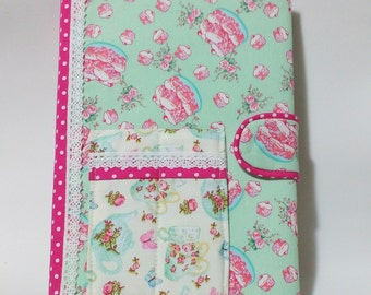 Covered notebook, unique journal or diary, stationary gift, teacher gift, chef gift, removable  cover, shabby chic notebook,kitsch gift idea