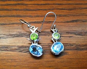 Blue Topaz and Green Peridot Earrings