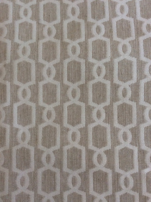 2yds Vessel Natural geometric upholstery weight fabric...linen/ivory...reversible, Fabric by the yard