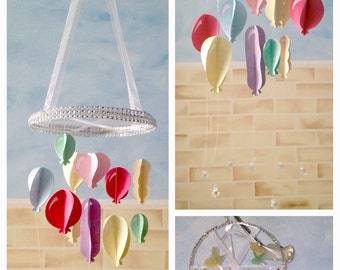 Pastel Rainbow Balloon Chandelier Mobile - baby/child/nursery/bedroom/baby shower/christening