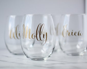 Personalized stemless wine glasses-qty of 1
