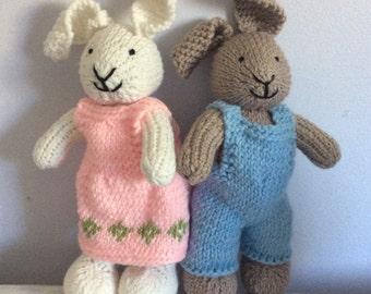 Hand knit Girl or Boy Bunny