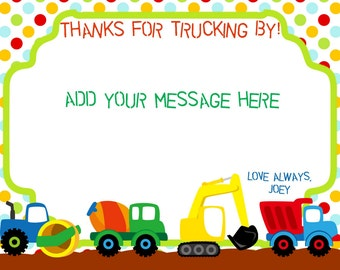 Truck thank you card birthday boy