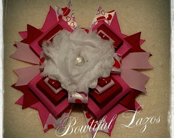 Valentine day heart red and pink pinwheel hair bow