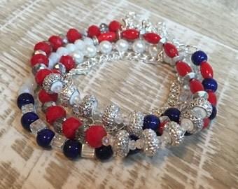 Beaded Bracelet, Wrap Bracelet, Patriotic Bracelet, Kansas Jayhawks Bracelet, KU Bracelet