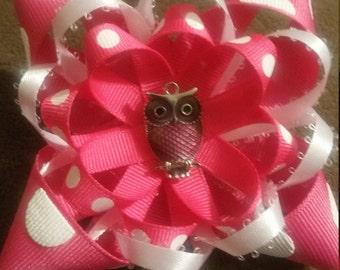 Pink polka dot owl bow