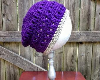 Women's Purple/Grey Crochet hat - Slouchy hat/beanie - Winter hat