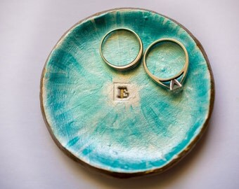 clay ring dish; initial ring dish; letter E ring dish; circle ring dish