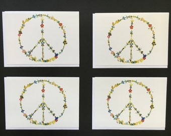 """Set of 4 Cards - Large """"Peace Sign"""" Card Prints"""