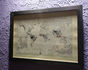 Old map world of rain (1949) - original vintage of rainfall in black & white to 1949 map (21cm x 29, 7cm)-sold box