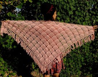 Pink Crochet Shawl Pink Shawl Women's Clothes Women Shawl Triangle Shawl Birthday Gift Soft Shawl Wool Shawl Gifts for Mom Gifts for girls