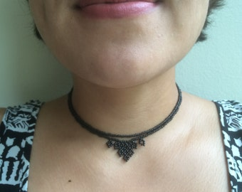 Black Intricate Beaded Necklace