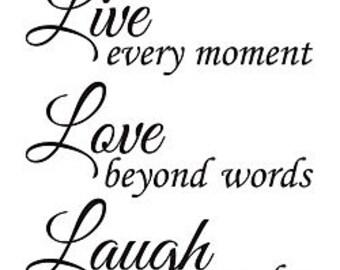 Live Love Laugh Car Decal, Live Love Laugh Decal, Live Love Laugh Laptop Decal, Live Love Laugh Yeti Decal, Live Love Laugh Coffee Decal