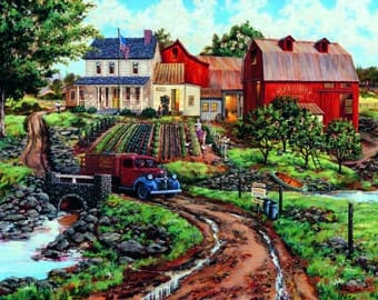 Rural Farm scene art,Nostalgic Americana,original oil painting, country scene, farm scene, rural scene, old truck painting, 30 x 40 original