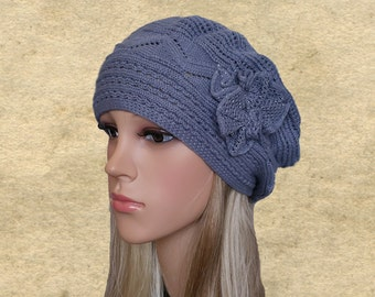Knit beret for lady, Knitted wool hats, Slouchy beanie hat, Hat beanie women, Gray womens beret, Beret hat spring, Women's trendy beret
