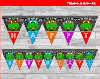 Ninja Turtles triangle Banner Instant download, Ninja Turtles Chalkboard Banner, Ninja Turtles banner