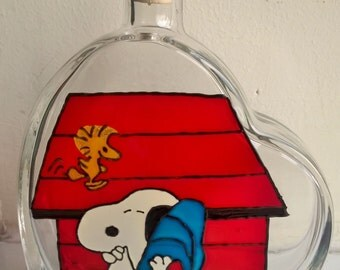 Painted Glass bottle Snoopy Peanuts