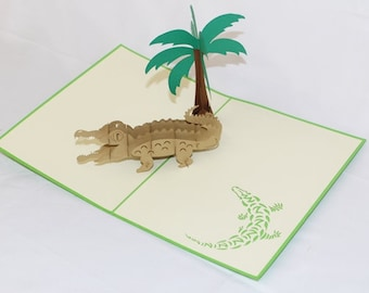 Alligator, Pop Up Card, Birthday Card, Greeting Card, Birthday Pop Up Card, Christmas Card, Get Well Card, Anniversary Card, 188