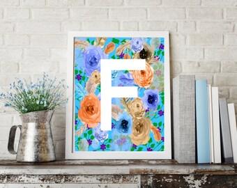 Letter F Monogram Art  / Letter F Art, Letter Wall Decor, Flower letter art, Digital letter download, Digital Monogram
