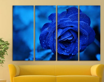 Rose canvas Rose wall art Rose wall decor Rose print Blue Flower Wall Art Flower wall art Flower wall decor Large Canvas Print Decor