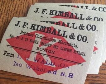 Lot of 5 Genuine Antique Business Cards JF KIMBALL Produce Merchant Boston, Massachusetts Circa 1890, paper ephemera, vintage ephemera