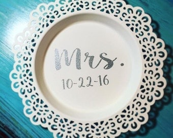 Monogrammed laced edge ring dish/FREE SHIPPING