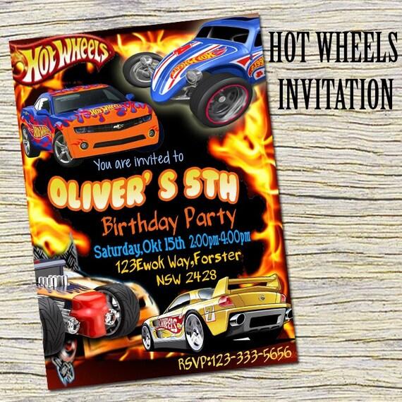 Hot Wheels Invitation Hot Wheels Personalized Hot Wheels