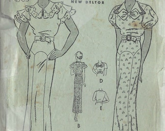 1930s Vintage Sewing Pattern B36 DRESS (1453)