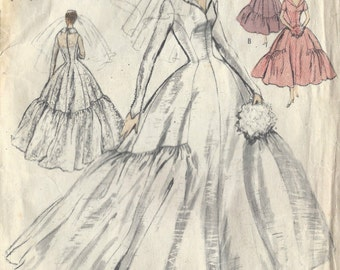 1955 Vintage VOGUE Sewing Pattern B30 Brides Bridesmaid DRESS Camisole (1500) Vogue S-4636