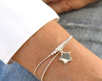 Bracelet beads degraded and star on two massive silver chains