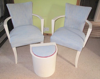 Matching Reupholstered and Painted Two Small Chairs and Laundry Bin