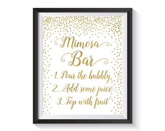 Mimosa Bar Sin Printable, Gold confetti Bubbly Bar Sign, Champagne Bar Sign, Birthday party, Anniversary, Wedding, Bridal Shower décor 8x10