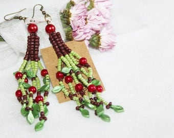Multicolor berry earrings, green red fringe beaded earrings, boho seed bead earrings, colorful fruit earrings, long folk beaded earrings