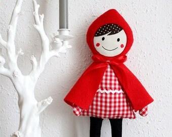 red hooded girl - fabric doll plush girls kids room