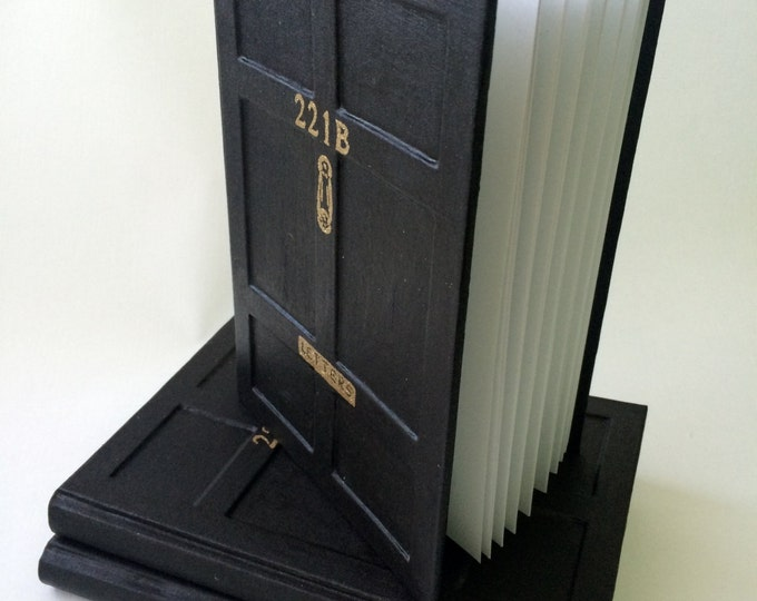 Personalized notebook Sherlock Holmes Door Baker Street 221B Handmade London write journal Watson Moriarty Arthur Conan Doyle gift