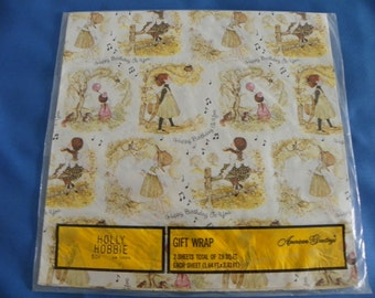 Vintage HOLLY HOBBIE American Greeting Gift Wrap GW1258H Birthday Wrapping Paper