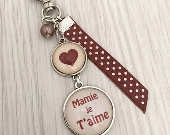 porte-clés bijou de sac a message personnalisé mamie je t'aime beige.REF.45