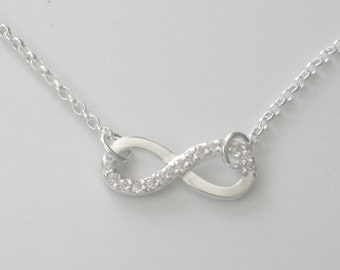 """925 Sterling Silver CZ (Cubic Zirconia) Infinity Necklace 16"""" 17"""" 18"""" 19"""" 20"""" 22"""" on Belcher Chain"""