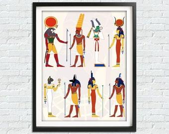Ancient Egypt Print, Egyptian Art, Egyptian Gods, God Of Egypt Print, Egyptian Print, Egyptian Decor, Egyptian Wall Art, Egyptian Artwork