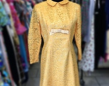 Yellow lace original 1970's evening dress