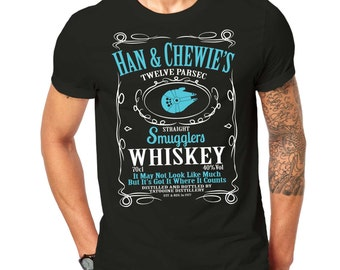 Inspired By Star Wars Han Solo Chewbacca Character Mashup T Shirt Black ScreenPrinted Design All Sizes