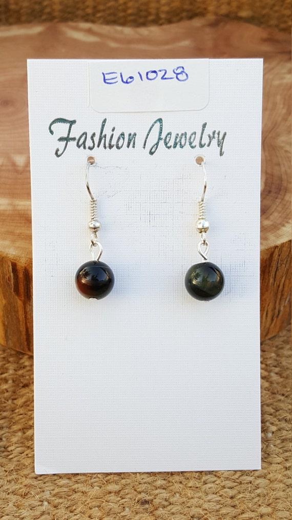 Black Healing Stone Earrings / Black with Brown Stone Earrings / Petetie Earrings / Dangle Earrings / Hippie Earrings / Boho Jewelry /E61028