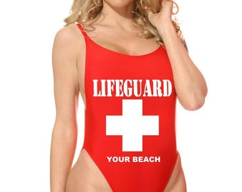 Custom Lifeguard One Piece Swimsuit - Red or White - Add Your Beach Name