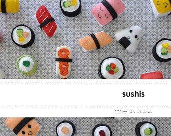 12 Sushis FeltFood Templates to download