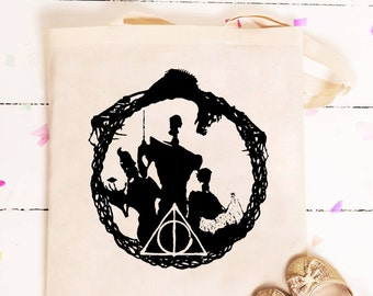Deathly Hallows The Tale of the Three Brothers Tote Bag, Harry Potter Tote Bag gift, Harry Potter gift, Custom Harry Potter Tote Bag,