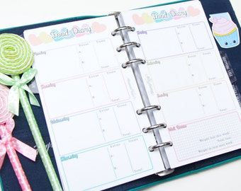 Personal sized PRINTED planner inserts - Week on two pages - Food Diary - Horizontal