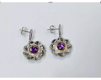 Vintage amethyst ,diamonds,14k gold,sterling silver earrings