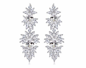Cubic Zirconia Beautiful Earrings Rhodium Plated French Clip Wedding Earrings Bridal Party